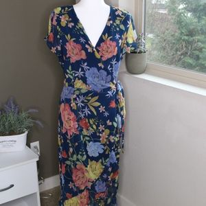 Navy Floral Short Sleeved Wrap Maxi Dress